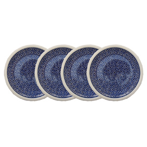 Polish Pottery Set of 4 Dinner Plates  9.5 Inch