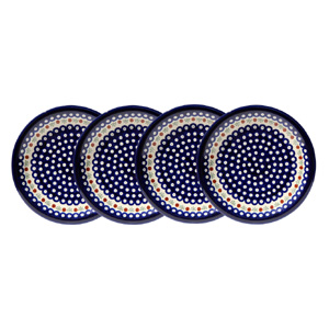 Polish Pottery Set of 4 Dinner Plates