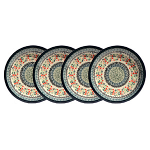 Polish Pottery Set of 4 Dinner Plates  11 Inch
